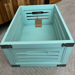 Tiffany Robin's Egg Blue Wooden Decor Storage Bin